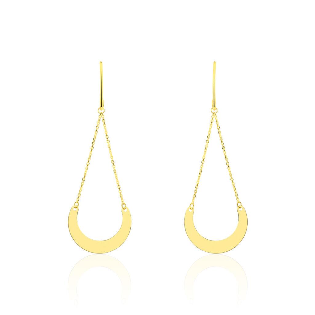 Boucles D'oreilles Pendantes Solaire Or Jaune - Boucles d'Oreilles Lune Femme | Histoire d'Or
