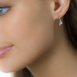 Boucles D'oreilles Pendantes Formev Or Bicolore Oxyde De Zirconium - Boucles d'oreilles pendantes Femme | Histoire d'Or