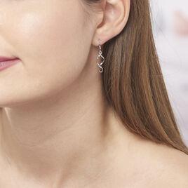 Boucles D'oreilles Pendantes Louison Argent Blanc - Boucles d'oreilles fantaisie Femme | Histoire d'Or
