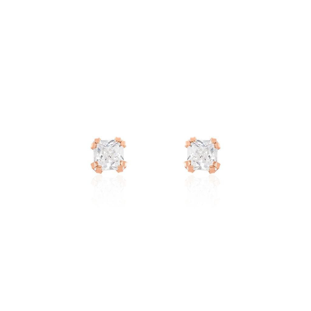 Boucles D'oreilles Puces Doreen Carre Or Rose Oxyde De Zirconium - Clous d'oreilles Femme   Histoire d'Or