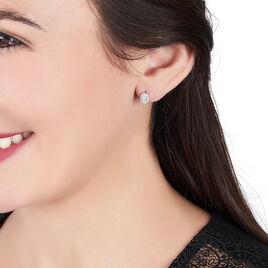 Boucles D'oreilles Puces Albertina Argent Blanc Oxyde De Zirconium - Boucles d'oreilles fantaisie Femme   Histoire d'Or