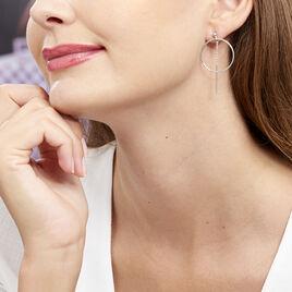 Boucles D'oreilles Pendantes Enissa Argent Blanc - Boucles d'oreilles créoles Femme | Histoire d'Or