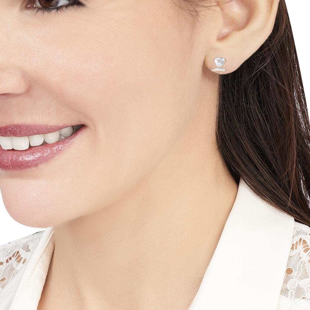 Boucles D'oreilles Puces Eva Or Blanc Topaze Et Oxyde De Zirconium - Boucles d'Oreilles Coeur Femme | Histoire d'Or