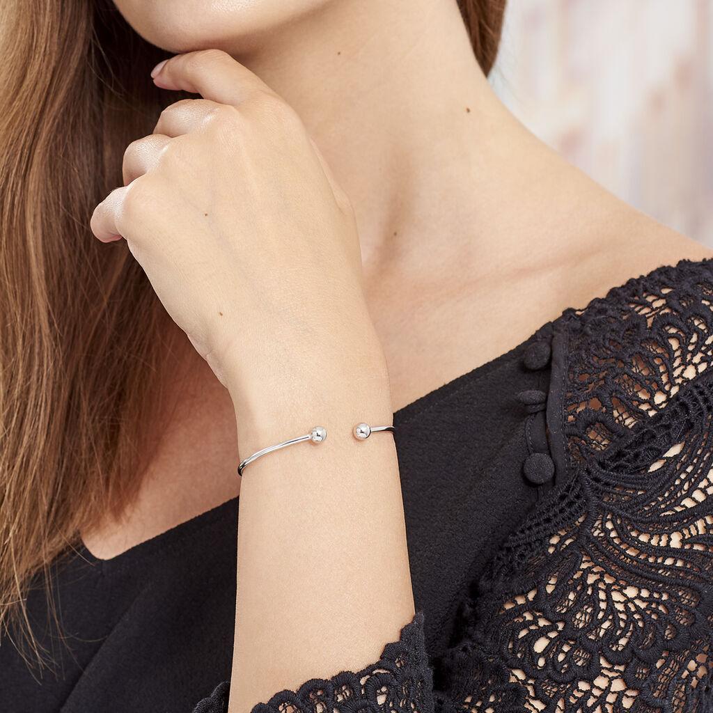 Bracelet Jonc Ludvinia Argent Blanc - Bracelets fantaisie Femme   Histoire d'Or