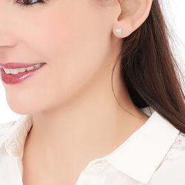 Boucles D'oreilles Puces Cleofa Argent Blanc Oxyde De Zirconium - Boucles d'oreilles fantaisie Femme | Histoire d'Or