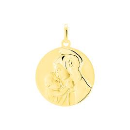 Pendentif Vierge A L'enfant Rond Or Jaune - Bijoux Vierge Famille | Histoire d'Or
