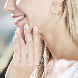 Créoles Catalina Rondes Argent Blanc Oxyde De Zirconium - Boucles d'oreilles créoles Femme   Histoire d'Or