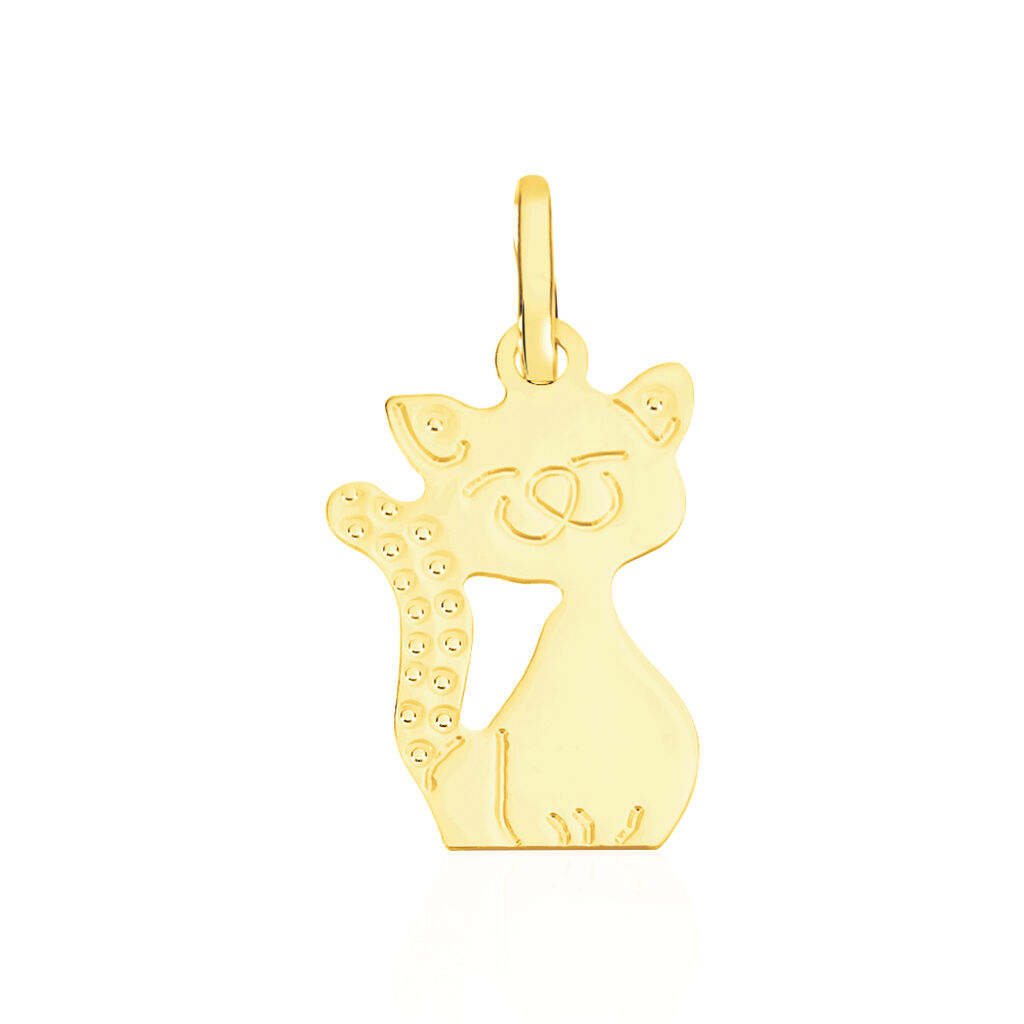 Pendentif Egee Chat Or Jaune