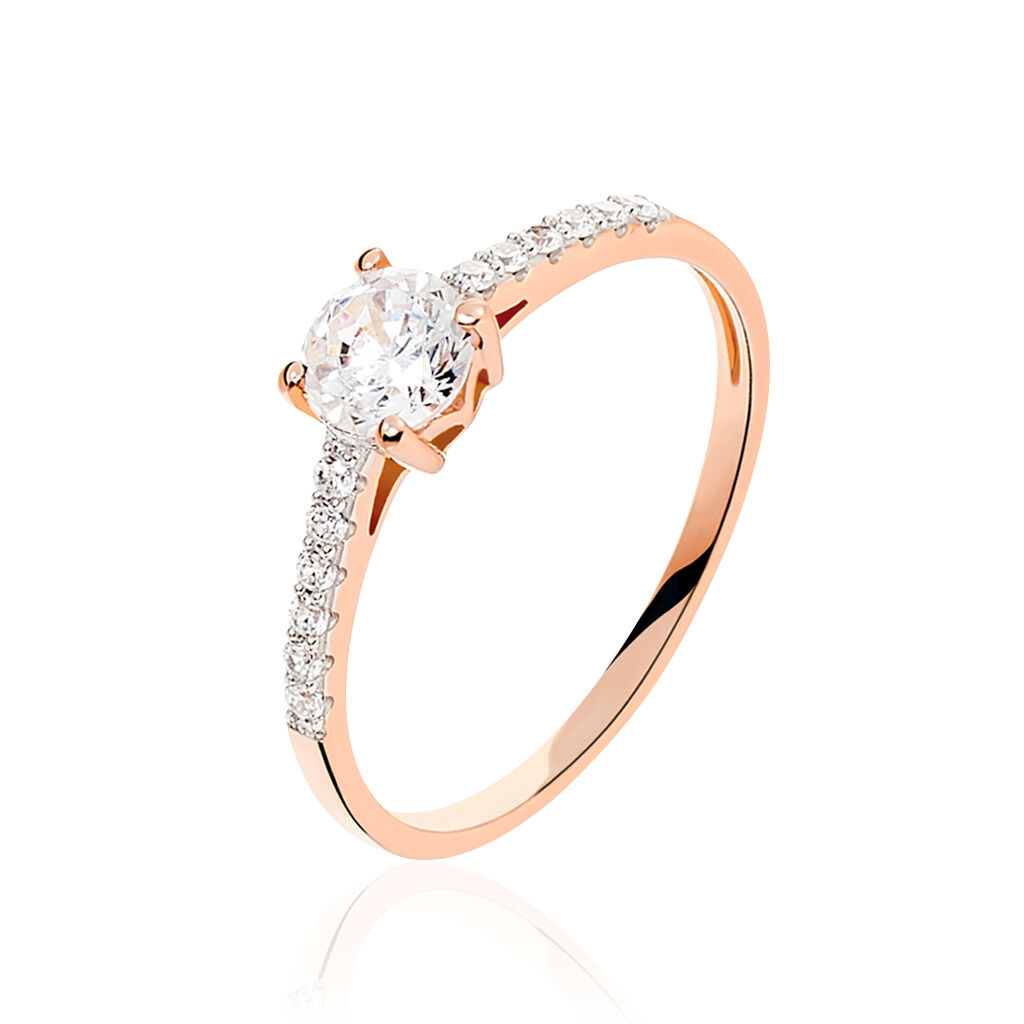Bague Solitaire Manon Or Rose Oxyde De Zirconium