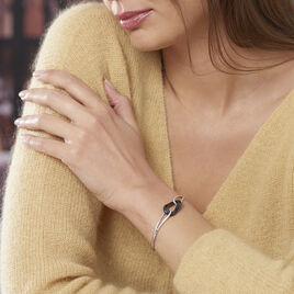 Bracelet Jonc Ceramik Design Argent Céramique Et Oxyde De Zirconium - Bijoux Femme   Histoire d'Or