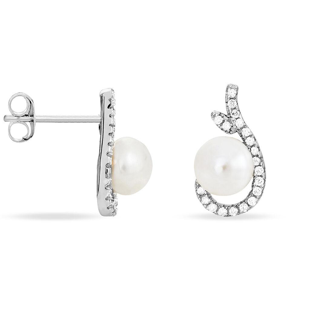 Boucles D'oreilles Puces Cyrana Argent Perle De Culture Et Oxyde - Boucles d'oreilles fantaisie Femme | Histoire d'Or