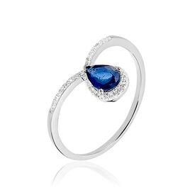 Bague Daya Or Blanc Saphir Et Diamant - Bagues avec pierre Femme | Histoire d'Or