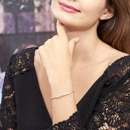 Bracelet Jonc Fuerza Argent Blanc Oxyde De Zirconium - Bracelets fantaisie Femme   Histoire d'Or