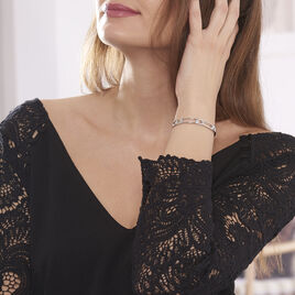 Bracelet Jonc Juliettine Argent Blanc Oxyde De Zirconium - Bracelets joncs Femme   Histoire d'Or