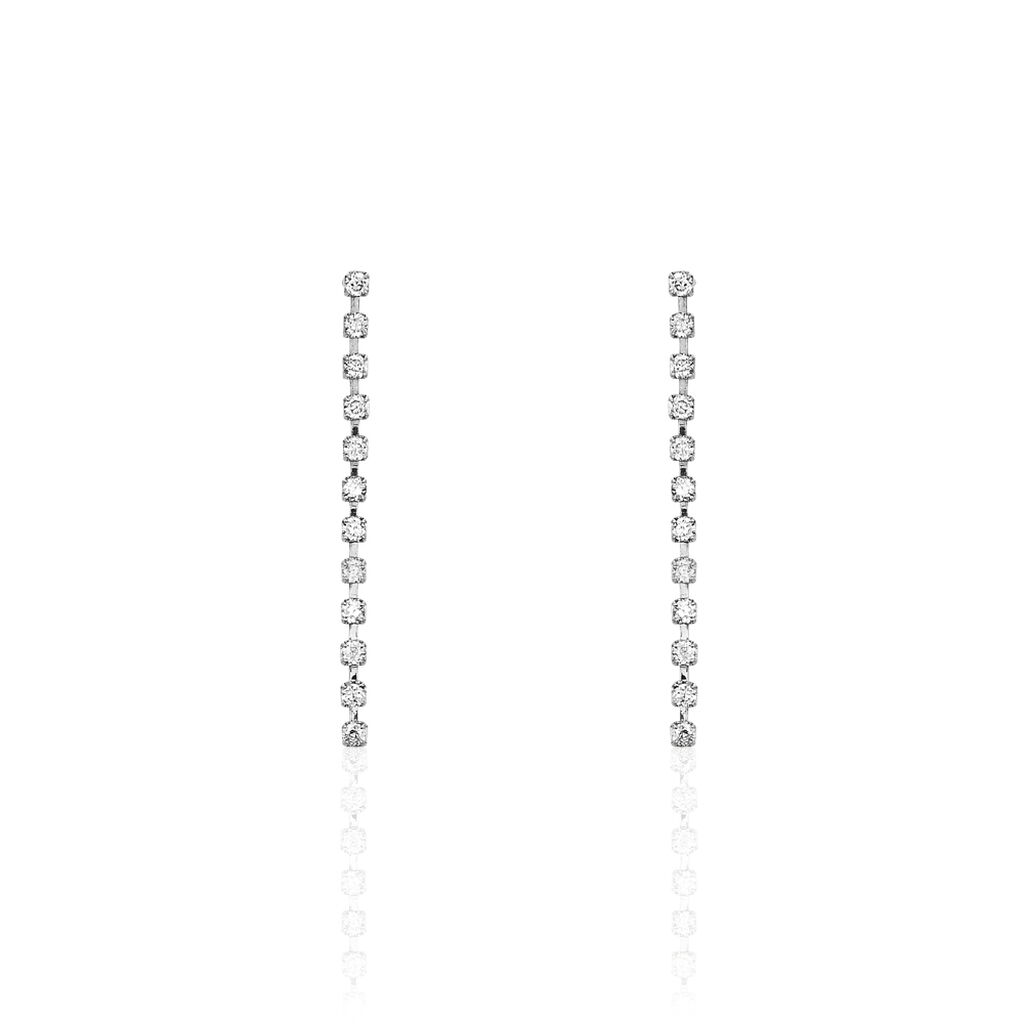 Boucles D'oreilles Pendantes Party Or Blanc Oxyde De Zirconium