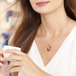 Collier Argent Ambre Motifs Stries - Colliers fantaisie Femme | Histoire d'Or