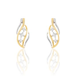 Boucles D'oreilles Pendantes Maêva Or Bicolore Diamant - Boucles d'oreilles pendantes Femme | Histoire d'Or