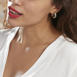 Créoles Athenea Plaque Or Bicolore - Boucles d'oreilles créoles Femme   Histoire d'Or