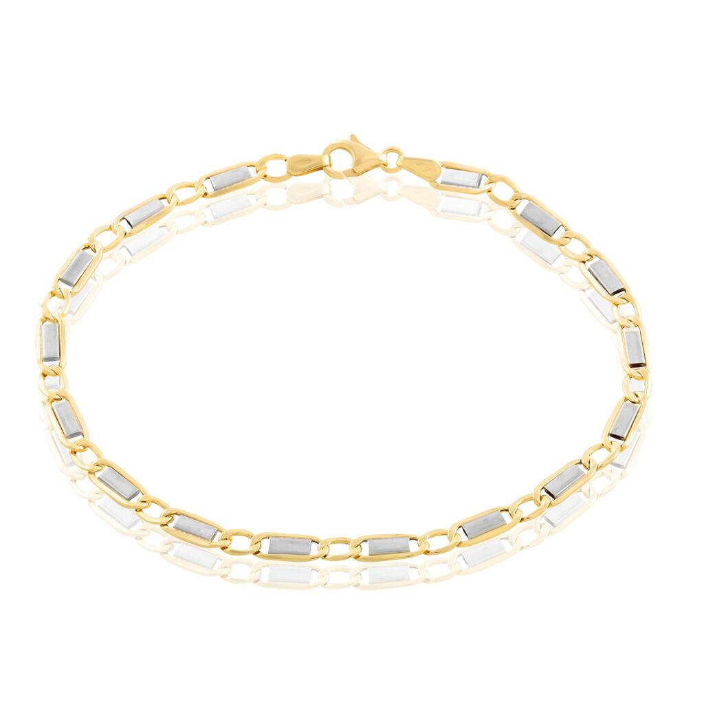 Bracelet Danae Maille Plaquette Alternee 1/1 Or Bicolore - Bracelets chaîne Homme | Histoire d'Or