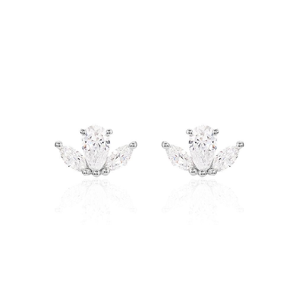 Boucles D'oreilles Puces Elma Or Blanc Oxyde De Zirconium - Clous d'oreilles Femme   Histoire d'Or