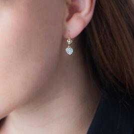 Boucles D'oreilles Puces Edmond Or Jaune Strass - Boucles d'Oreilles Coeur Femme | Histoire d'Or