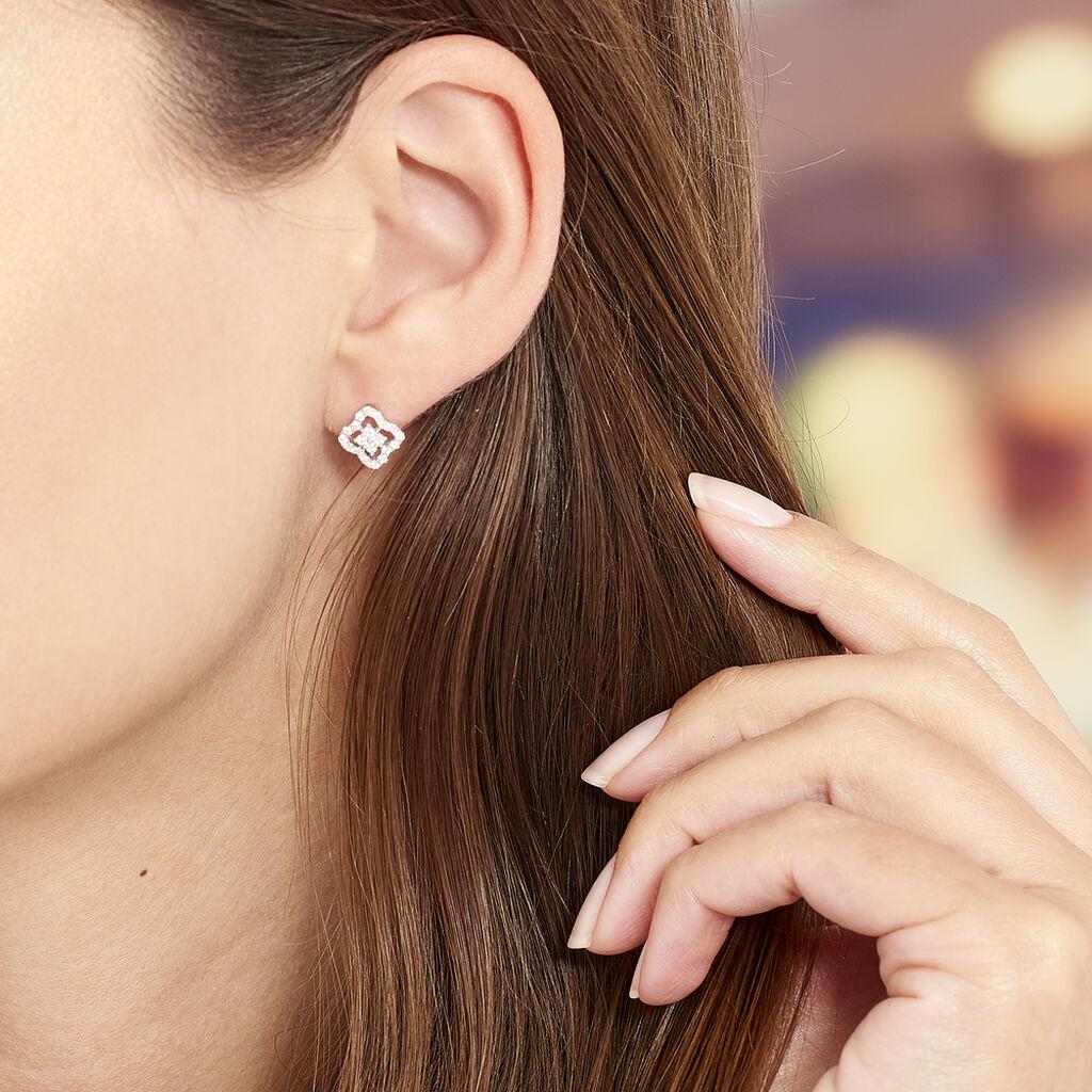 Boucles D'oreilles Puces Abigail Argent Blanc Oxyde De Zirconium - Boucles d'oreilles fantaisie Femme | Histoire d'Or