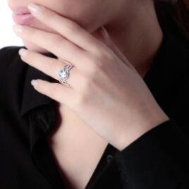 Bague Tina Or Blanc Topaze Et Oxyde De Zirconium - Bagues solitaires Femme | Histoire d'Or