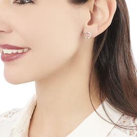 Boucles D'oreilles Puces Salona Argent Blanc Oxyde De Zirconium - Boucles d'Oreilles Coeur Femme | Histoire d'Or