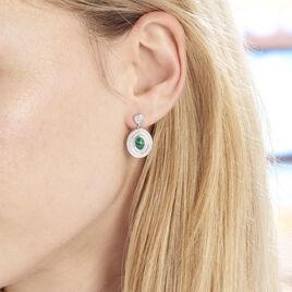 Boucles D'oreilles Pendantes Takara Argent Blanc Malachite - Boucles d'oreilles pendantes Femme | Histoire d'Or