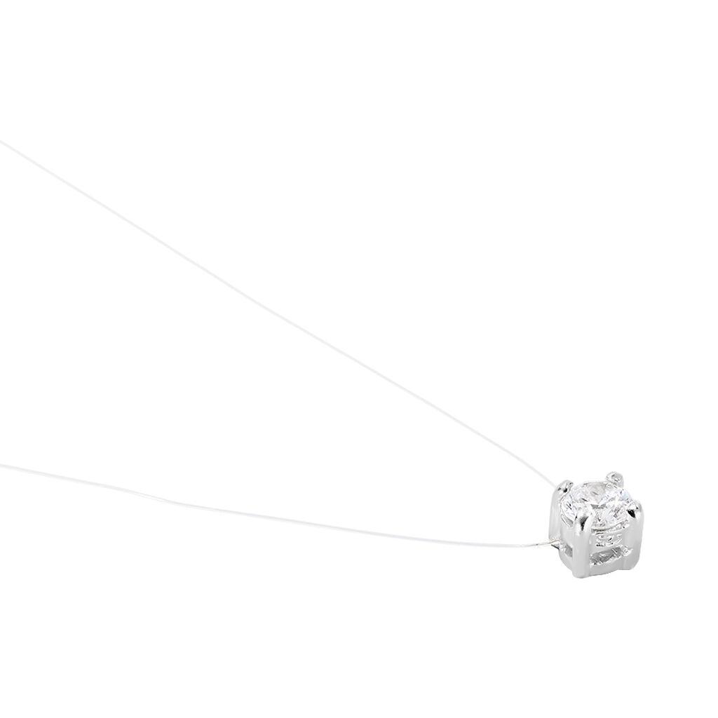 Collier Nylon Argent Blanc Oxyde De Zirconium - Colliers fantaisie Femme   Histoire d'Or