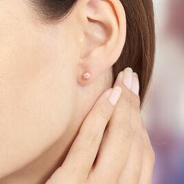 Boucles D'oreilles Argent Rose Puce Boule - Boucles d'oreilles fantaisie Femme | Histoire d'Or