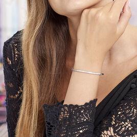 Bracelet Jonc Laurianne Argent Blanc Oxyde De Zirconium - Bracelets joncs Femme   Histoire d'Or