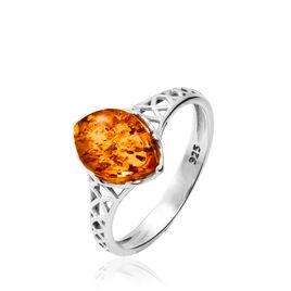 Bague Argent Et Ambre - Bagues avec pierre Femme | Histoire d'Or