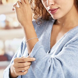 Bracelet Whitney Argent Blanc Oxyde De Zirconium - Bracelets fantaisie Femme   Histoire d'Or