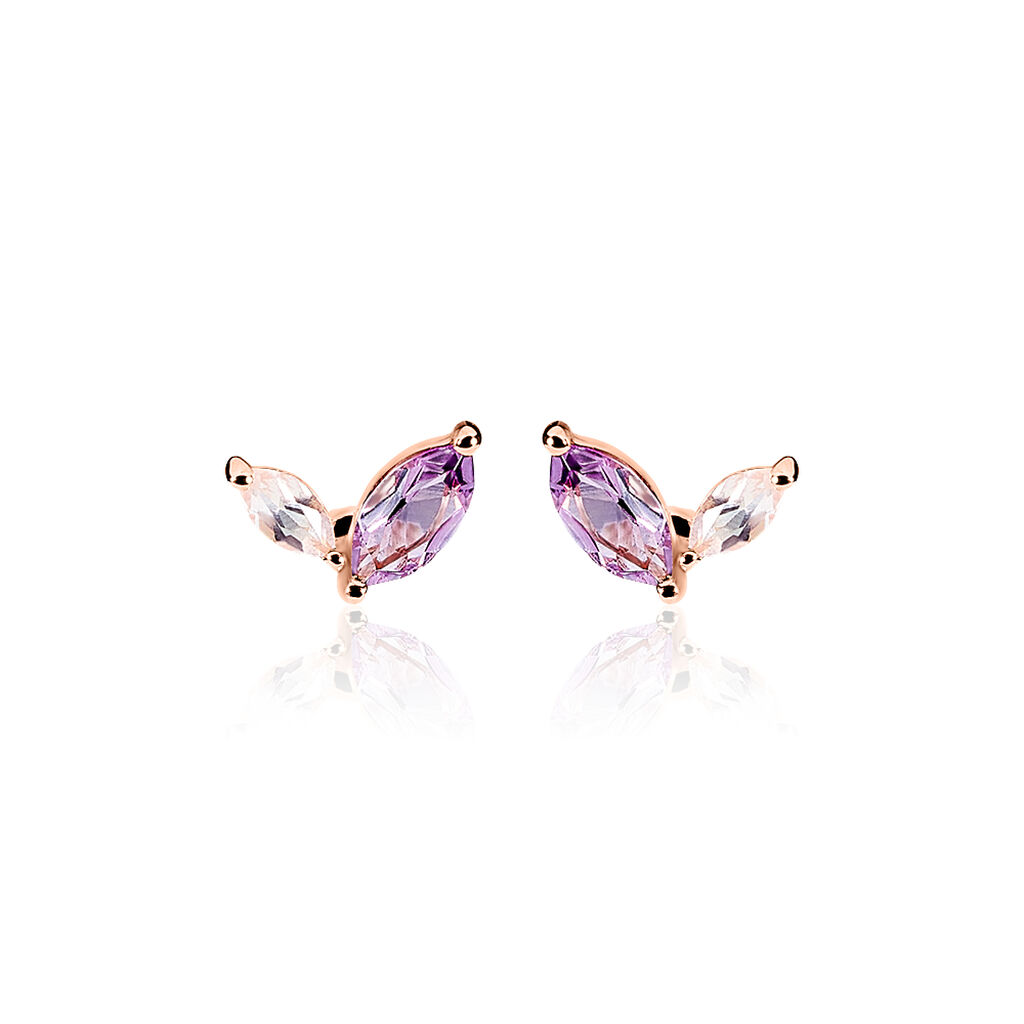 Boucles D'oreilles Pendantes Iana Or Rose Amethyste Et Quartz - Boucles d'oreilles pendantes Femme | Histoire d'Or