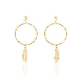 Boucles D'oreilles Pendantes Mahel Plaque Or Jaune - Boucles d'Oreilles Plume Femme   Histoire d'Or