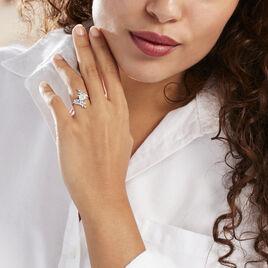 Bague Solitaire Iora Argent Blanc Oxyde De Zirconium - Bagues Plume Femme   Histoire d'Or
