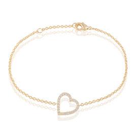 Bracelet Afida Plaque Or Jaune Oxyde De Zirconium - Bracelets Coeur Femme | Histoire d'Or