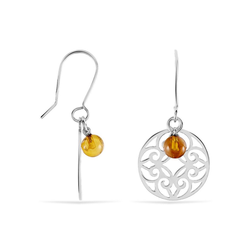 Boucles D'oreilles Pendantes Adrianne Argent Blanc Ambre - Boucles d'oreilles fantaisie Femme   Histoire d'Or