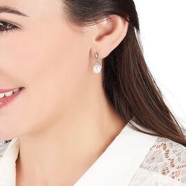 Boucles D'oreilles Pendantes Adelina Argent Blanc Perle De Culture - Boucles d'oreilles fantaisie Femme   Histoire d'Or