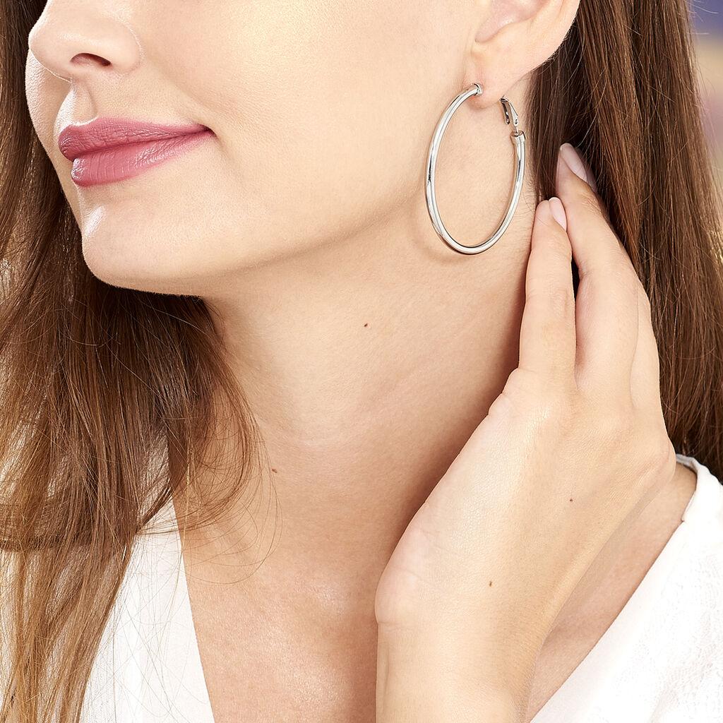 Créoles Carmeline Acier Blanc - Boucles d'oreilles créoles Femme   Histoire d'Or