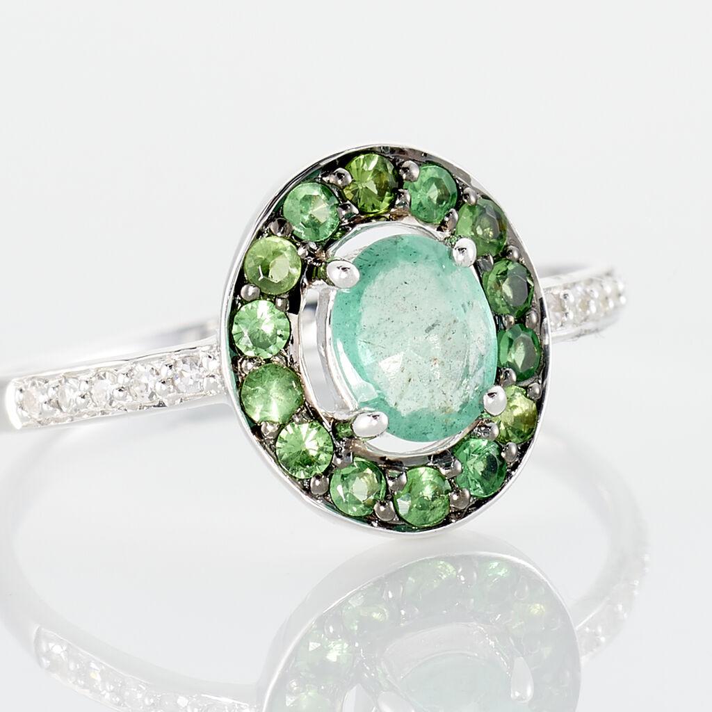 Bague Leona Or Blanc Emeraude Diamant - Bagues avec pierre Femme   Histoire d'Or