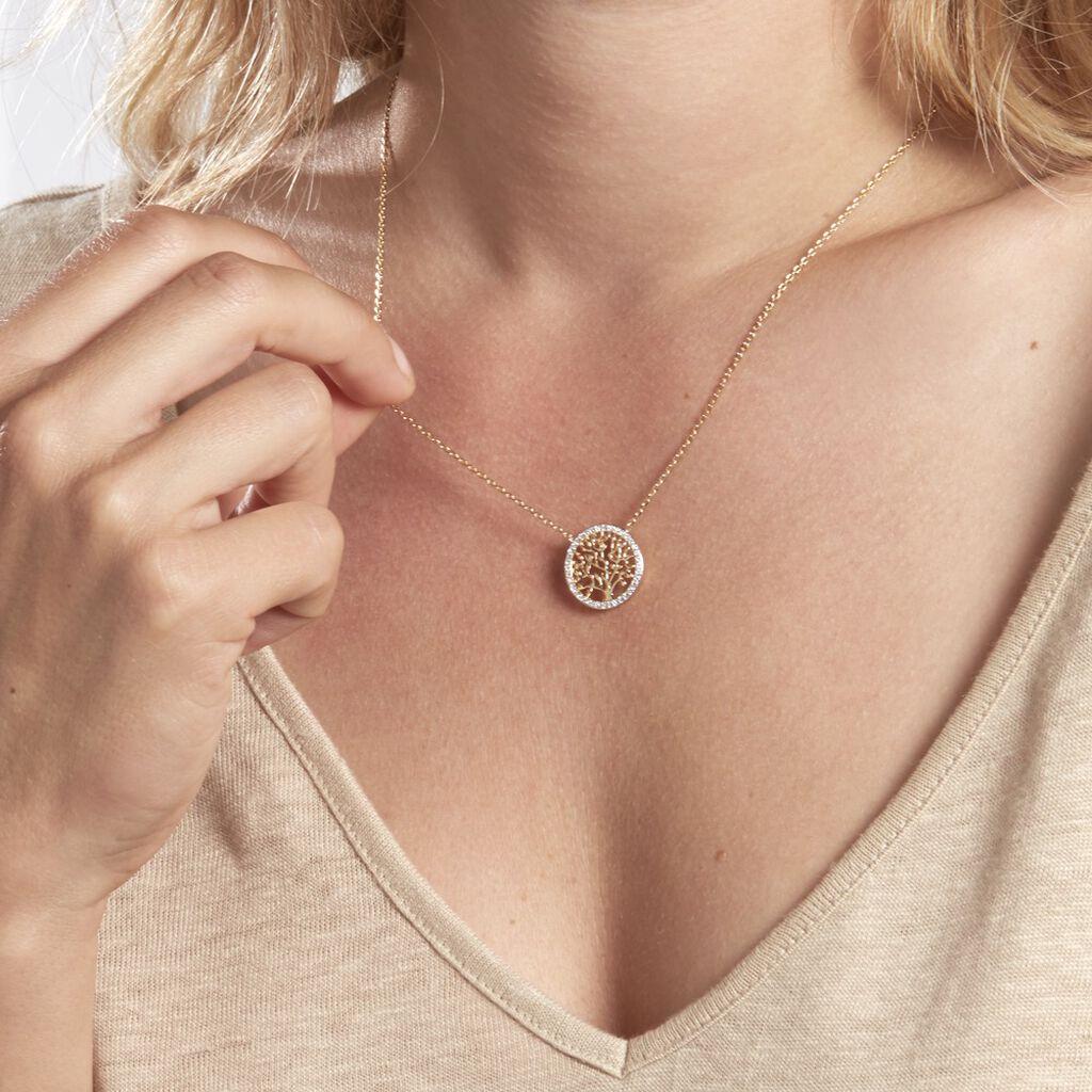 Collier Theolina Plaque Or Jaune Oxyde De Zirconium - Colliers Arbre de vie Femme | Histoire d'Or