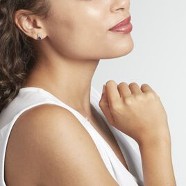 Boucles D'oreilles Puces Or Blanc Marie Saphirs Diamants - Clous d'oreilles Femme   Histoire d'Or