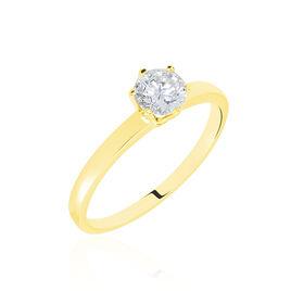 Bague Solitaire Or Jaune Diamant Synthetique - Bagues avec pierre Femme   Histoire d'Or