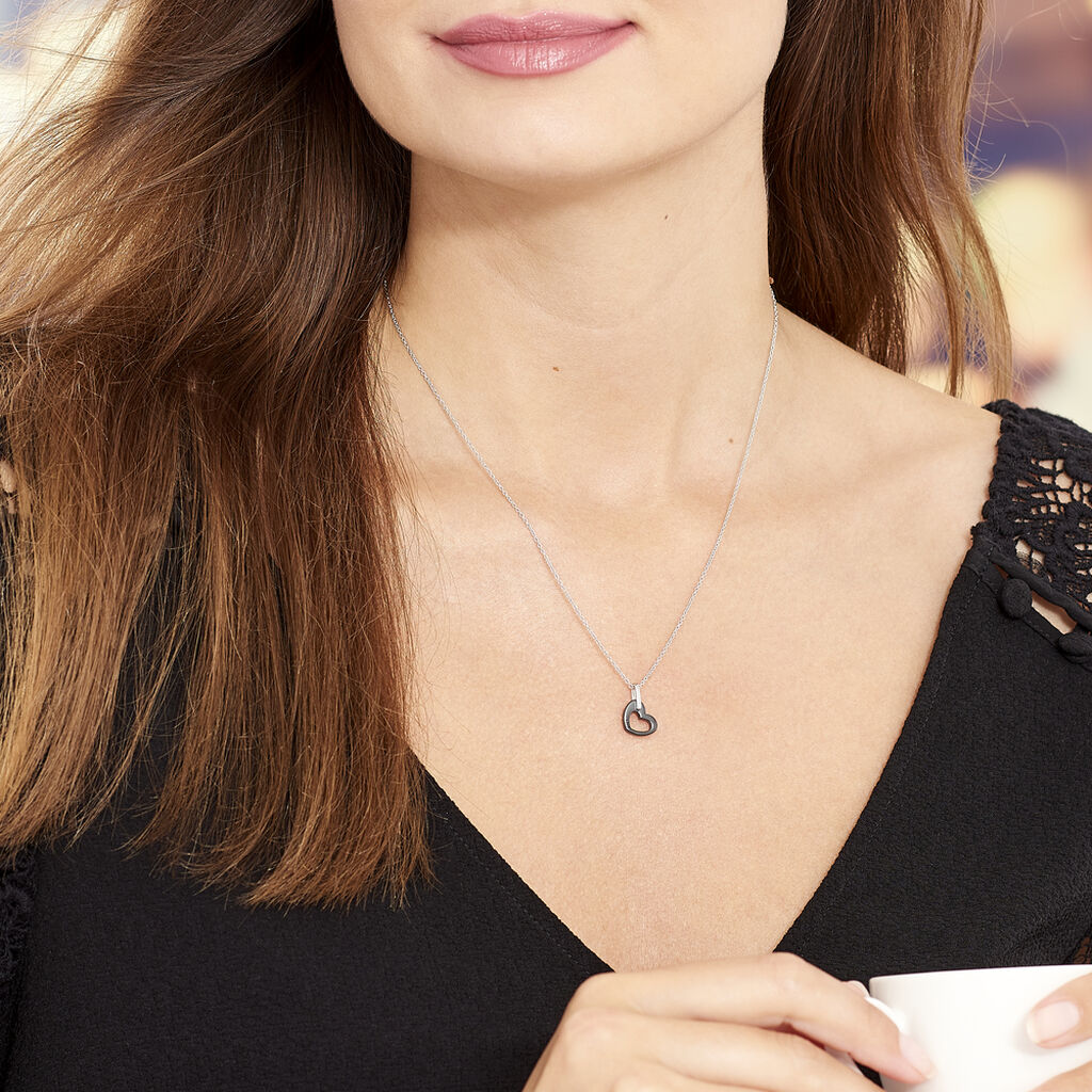 Collier Sumeyra Argent Blanc Céramique Et Oxyde De Zirconium - Colliers Coeur Femme   Histoire d'Or