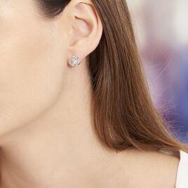 Boucles D'oreilles Puces Bouton D'or Argent Blanc Oxyde De Zirconium - Boucles d'oreilles fantaisie Femme   Histoire d'Or