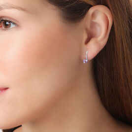 Boucles D'oreilles Puces Naomie Or Blanc Amethyste Et Diamant - Clous d'oreilles Femme | Histoire d'Or