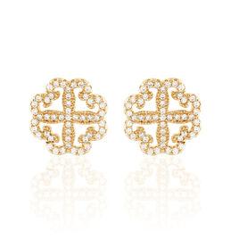 Boucles D'oreilles Pendantes Marguerita Plaque Or Oxyde De Zirconium - Boucles d'oreilles fantaisie Femme | Histoire d'Or