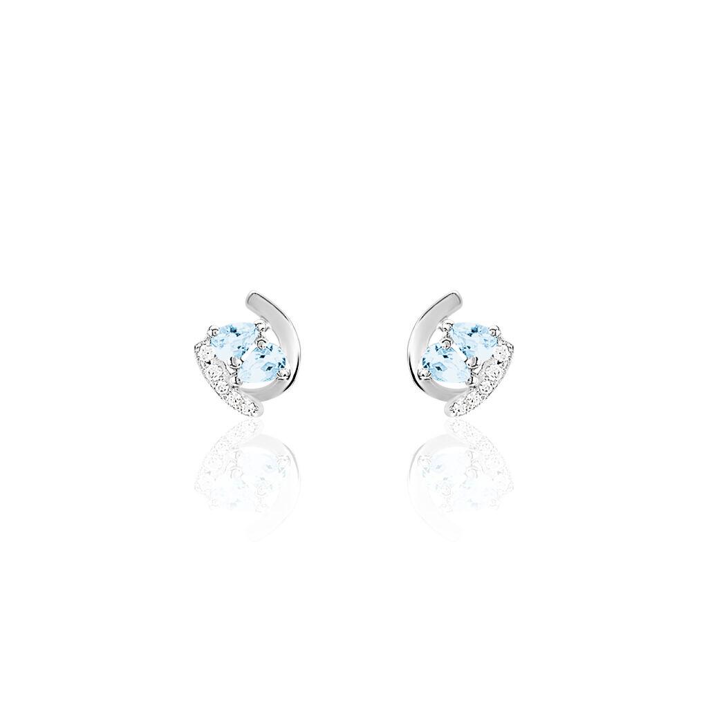 Boucles D'oreilles Puces Tya Or Blanc Topaze Et Oxyde De Zirconium - Clous d'oreilles Femme | Histoire d'Or